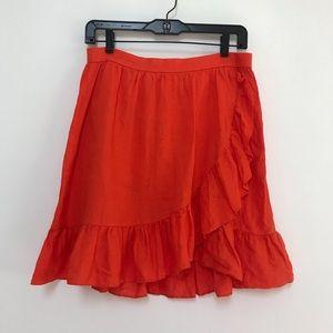 J. Crew Linen Ruffle Skirt Orange Size 6